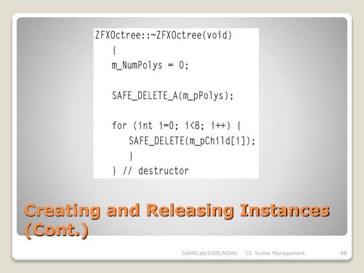 Creating and Releasing Instances (Cont.)
