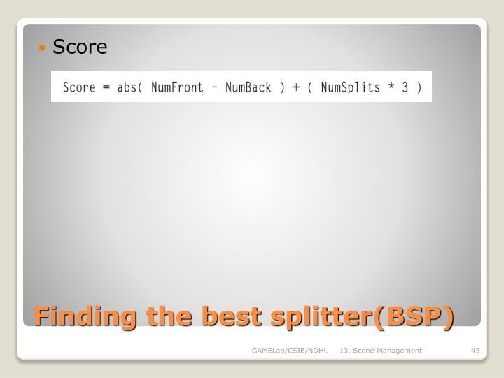 Finding the best splitter(BSP)