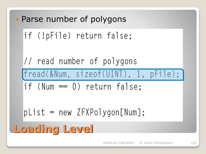 Parse number of polygons