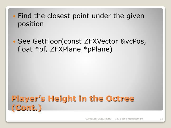 Find the closest point under the given position
