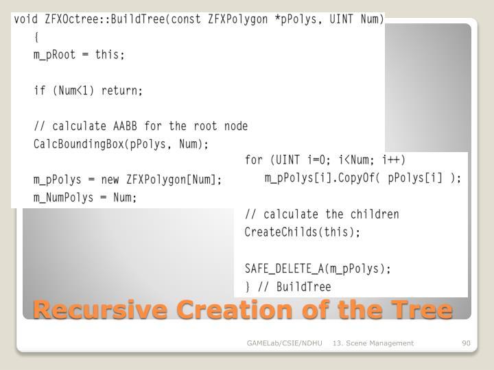 Recursive Creation of the Tree