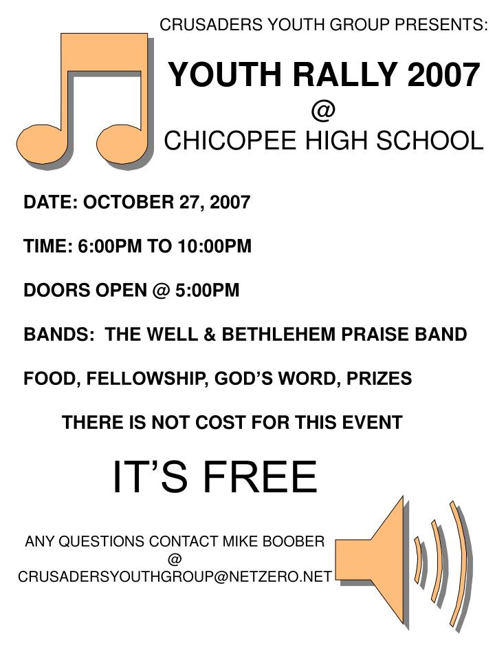 CRUSADERS YOUTH GROUP PRESENTS: