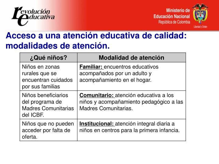 Acceso a una atención educativa de calidad: modalidades de atención.