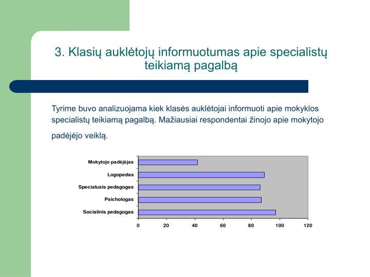 3. Klasi aukltoj informuotumas apie specialist teikiam pagalb