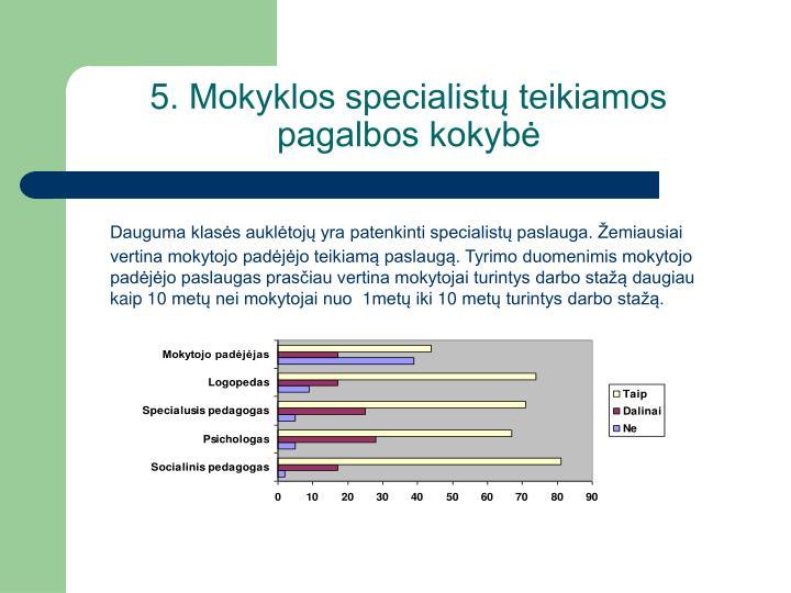 5. Mokyklos specialist teikiamos pagalbos kokyb