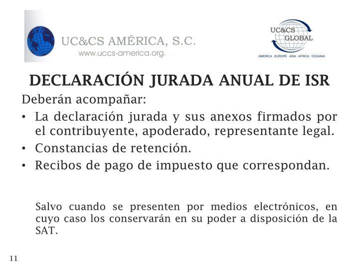 DECLARACIÓN JURADA ANUAL DE ISR