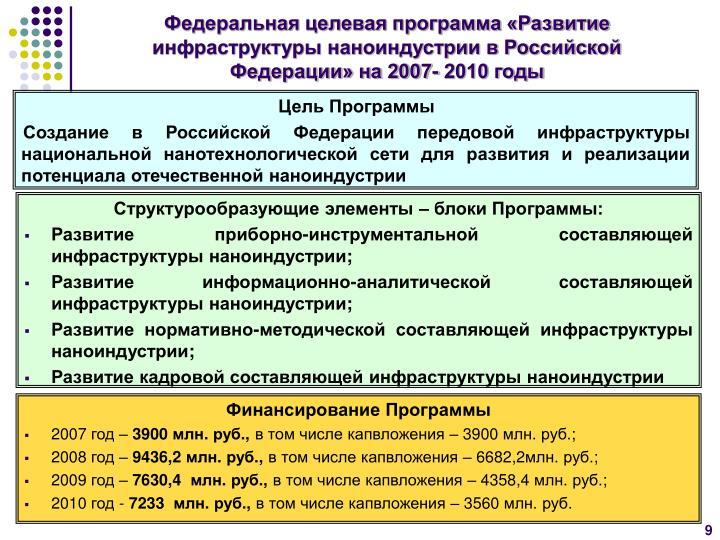 Федеральная целевая программа «Развитие инфраструктуры наноиндустрии в Российской Федерации» на 2007- 2010 годы