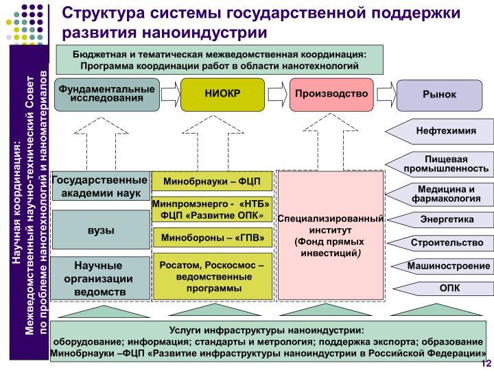 Структура системы государственной поддержки развития наноиндустрии