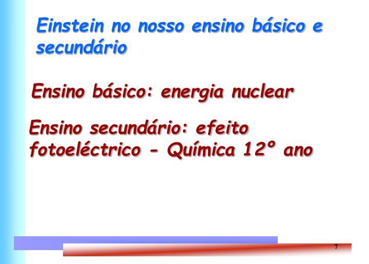 Einstein no nosso ensino básico e secundário