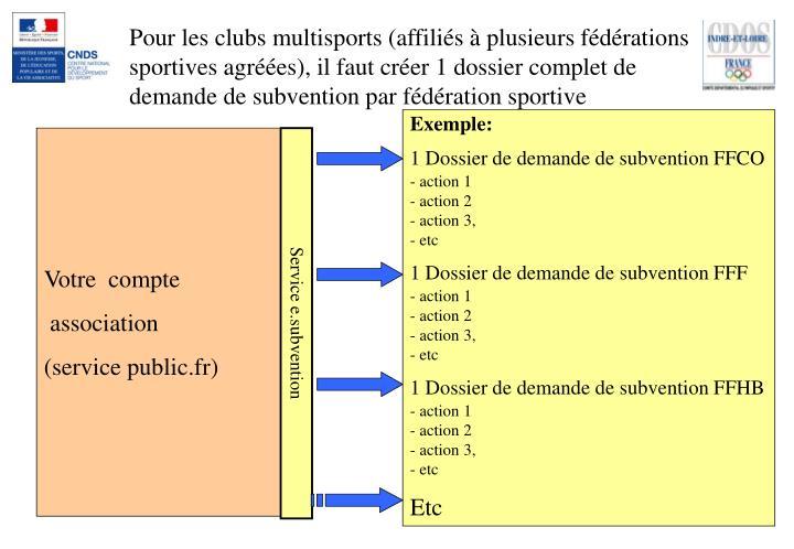 Pour les clubs multisports (affiliés à plusieurs fédérations sportives agréées), il faut créer 1 dossier complet de demande de subvention par fédération sportive