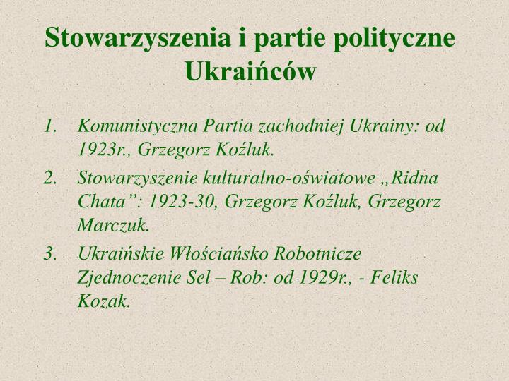 Stowarzyszenia i partie polityczne Ukraińców