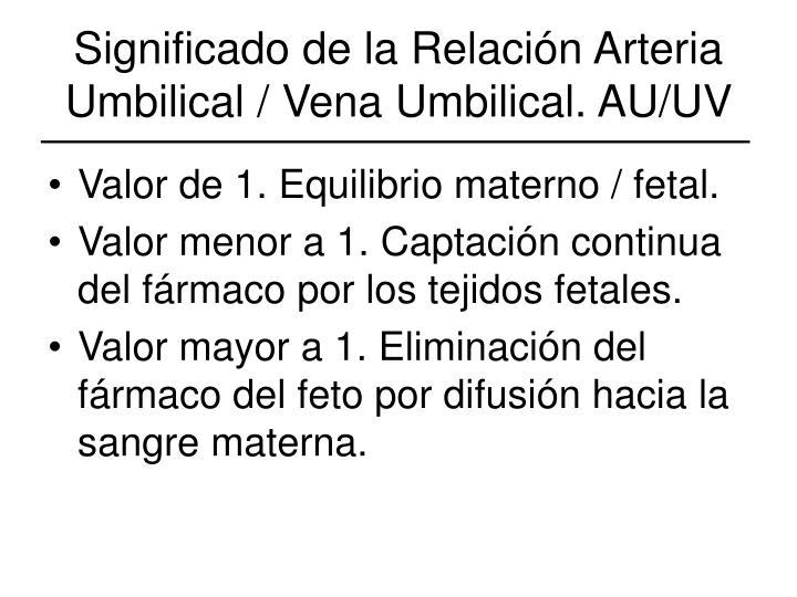 Significado de la Relación Arteria Umbilical / Vena Umbilical. AU/UV