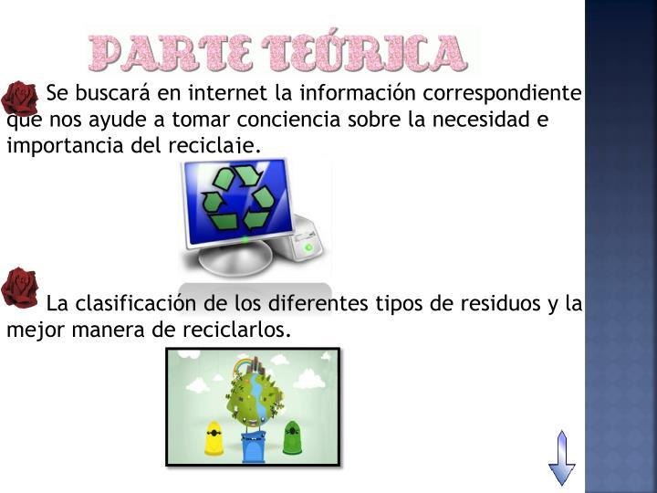 Se buscará en internet la información correspondiente que nos ayude a tomar conciencia sobre la necesidad e importancia del reciclaje.