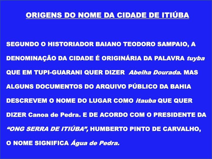 ORIGENS DO NOME DA CIDADE DE ITIÚBA