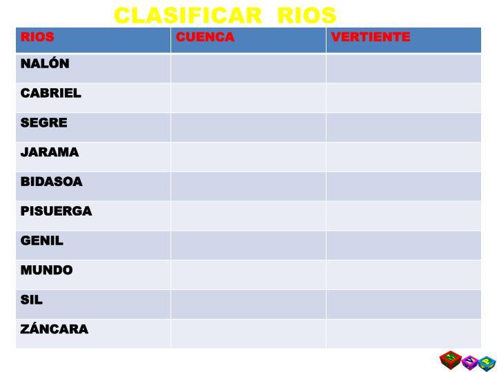 CLASIFICAR  RIOS