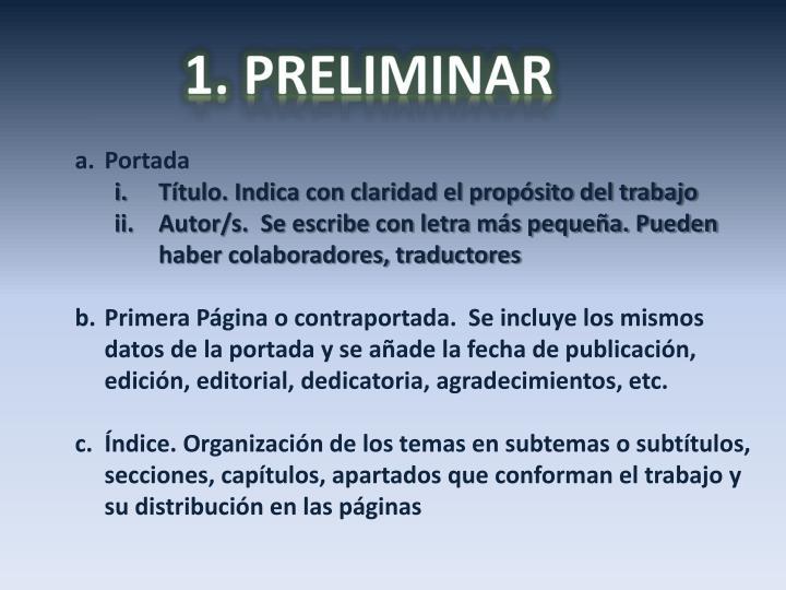 1. PRELIMINAR