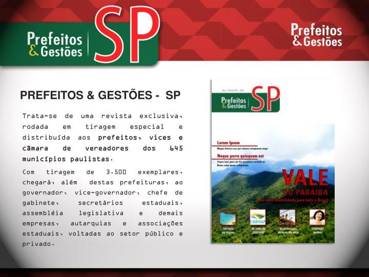 PREFEITOS & GESTÕES -  SP