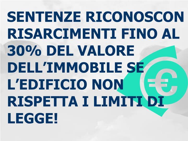 SENTENZE RICONOSCON RISARCIMENTI FINO AL 30% DEL VALORE DELL'IMMOBILE SE L'EDIFICIO NON RISPETTA I LIMITI DI LEGGE!