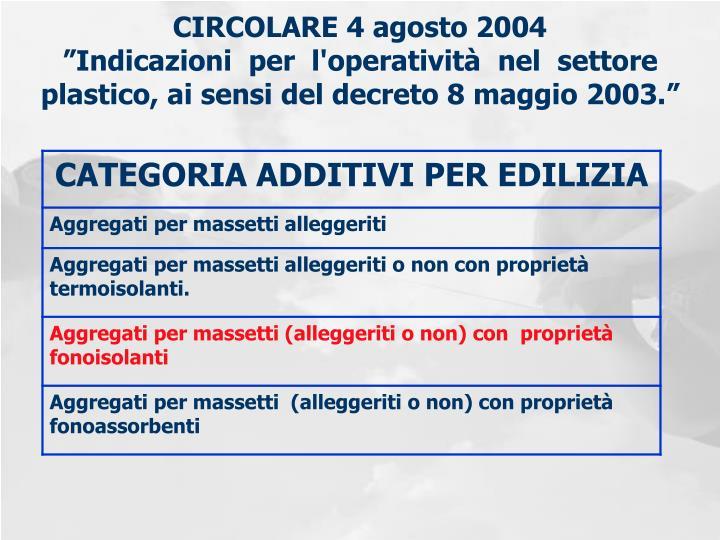 """CIRCOLARE 4 agosto 2004 """"Indicazioni per l'operatività nel settore plastico, ai sensi del decreto 8 maggio 2003."""""""