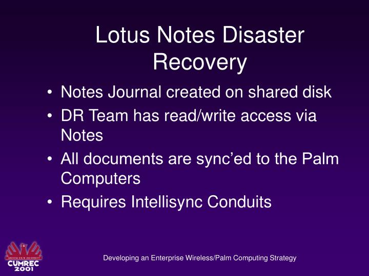 Lotus Notes Disaster Recovery