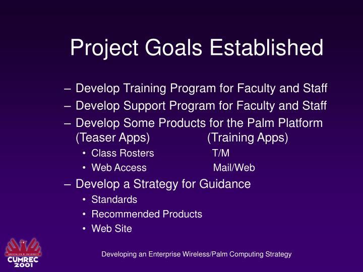Project Goals Established