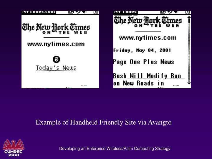 Example of Handheld Friendly Site via Avangto