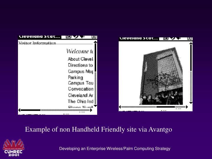 Example of non Handheld Friendly site via Avantgo