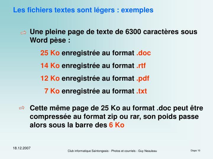 Les fichiers textes sont légers : exemples