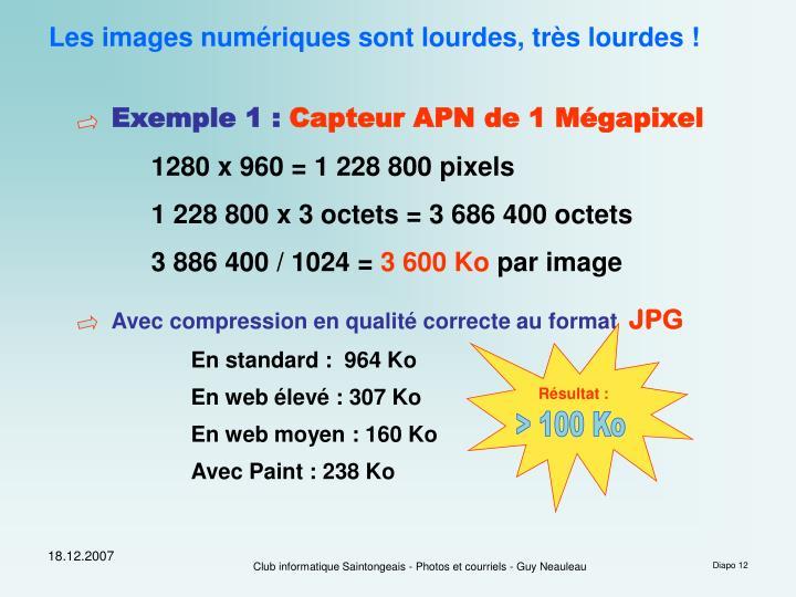 Les images numériques sont lourdes, très lourdes !