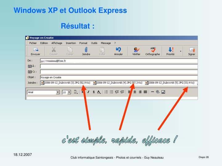 Windows XP et Outlook Express