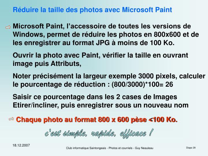 Réduire la taille des photos avec Microsoft Paint