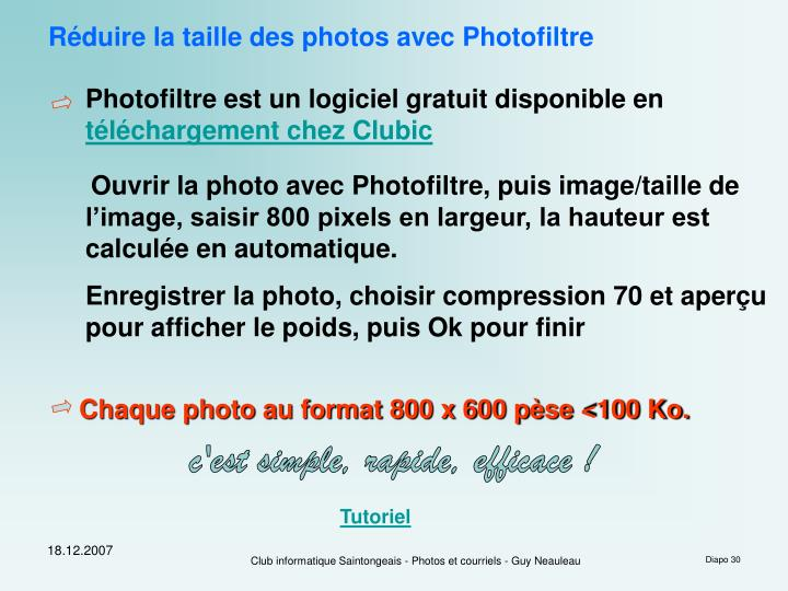 Réduire la taille des photos avec Photofiltre