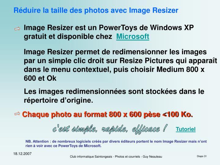 Réduire la taille des photos avec Image Resizer