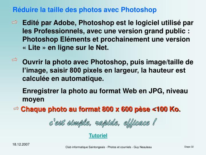 Réduire la taille des photos avec Photoshop