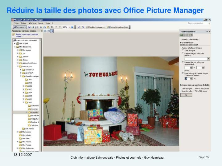 Réduire la taille des photos avec Office Picture Manager