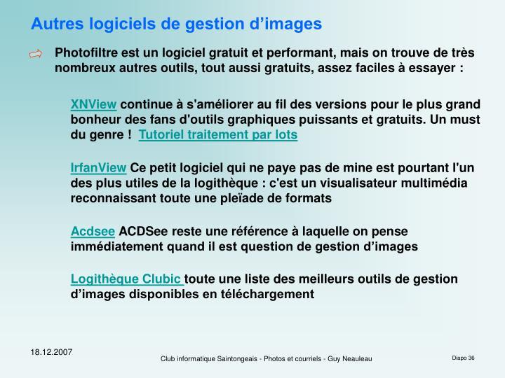 Autres logiciels de gestion d'images