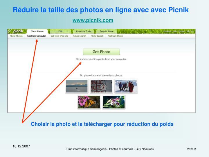 Réduire la taille des photos en ligne avec avec Picnik