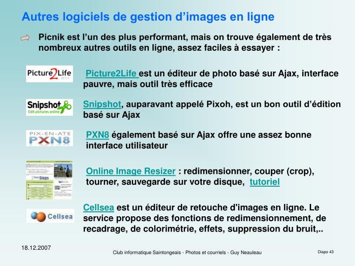 Autres logiciels de gestion d'images en ligne