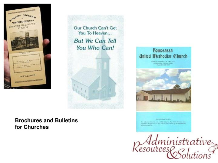 Brochures and Bulletins for Churches