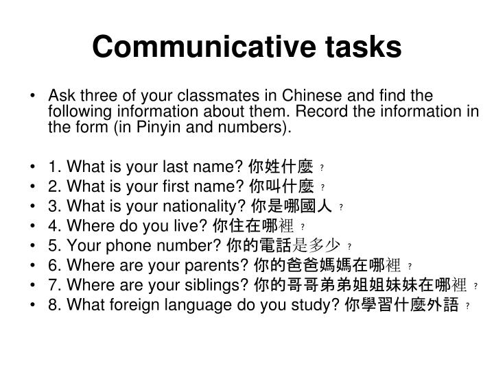 Communicative tasks