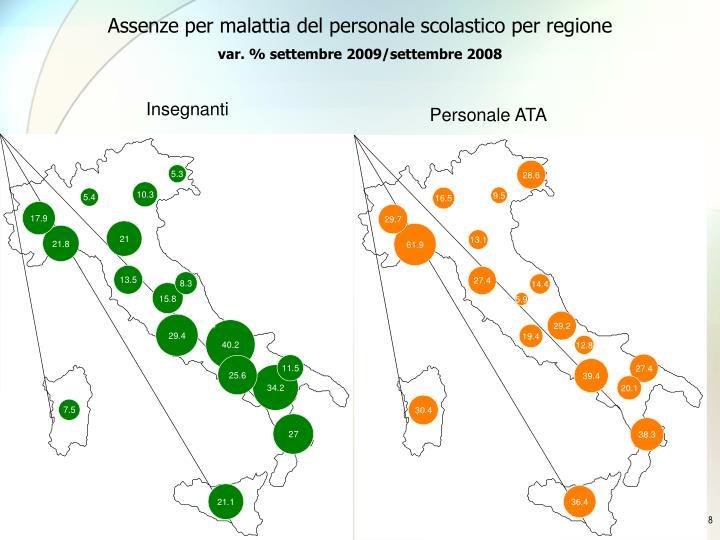 Assenze per malattia del personale scolastico per regione