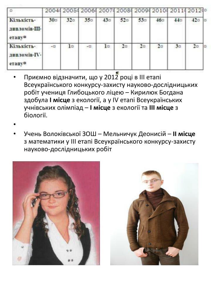 Приємно відзначити, що у 2012 році в ІІІ етапі Всеукраїнського конкурсу-захисту науково-дослідницьких робіт учениця