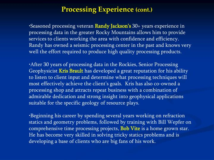Processing Experience