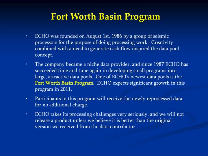 Fort Worth Basin Program