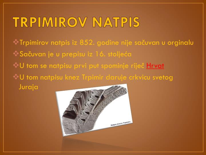 TRPIMIROV NATPIS
