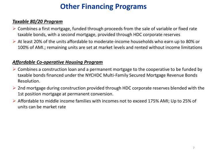 Other Financing Programs