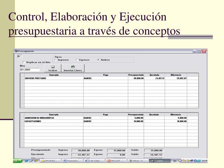 Control, Elaboración y Ejecución presupuestaria a través de conceptos