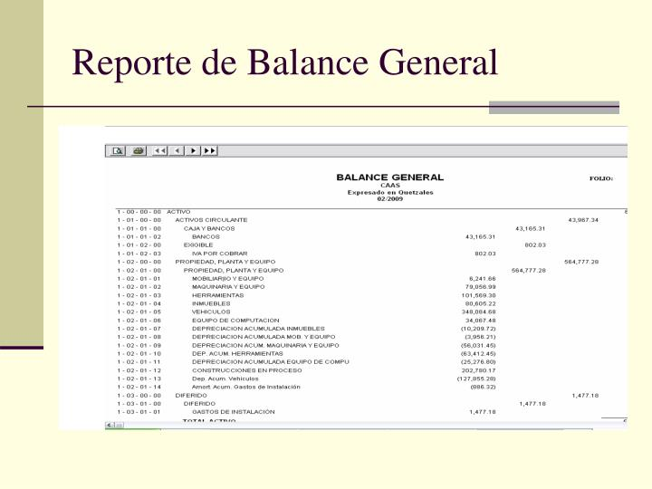 Reporte de Balance General