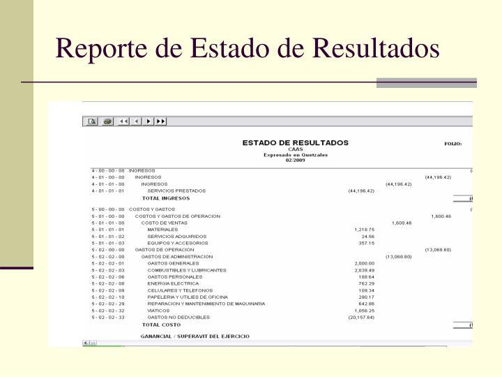 Reporte de Estado de Resultados