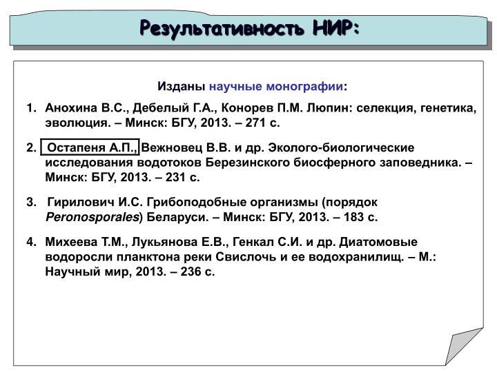 Результативность НИР: